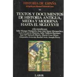 TEXTOS Y DOCUMENTOS DE HISTORIA ANTIGUA, MEDIA Y MODERNA HASTA EL SIGLO XVII