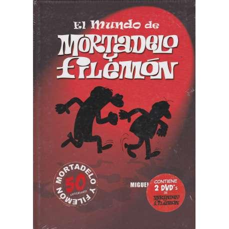 El mundo de Mortadelo y Filemón. 2 tomos. I: Biografía y estudio de la obra de Ibañez. II: 2 dvd con 23 peliculas de Mortadelo y